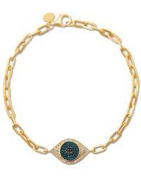 Anne Sisteron 14kt Yellow Gold Blue Diamond Evil Eye Chain Link - Metallic