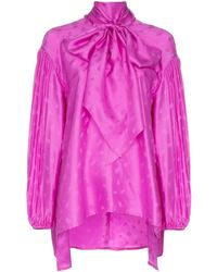Chloé Tie Neck Blouse With Pleated Sleeves - Pink