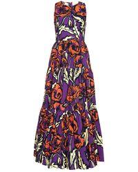 LaDoubleJ Big Blooms Sleeveless Flared Midi Dress - Purple