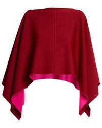 Valentino Drape Sleeve Two-tone Poncho - Red