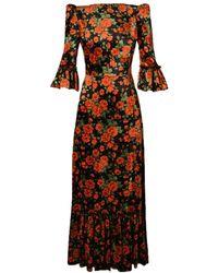 The Vampire's Wife The Festival 3/4 Rose Velvet Dress - Red