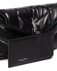 Saint Laurent Puffy Pouch With Cardholder - Black