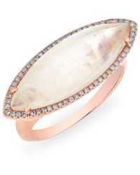 Anne Sisteron Rose Gold Diamond Moonstone Marquis Ring - Multicolour