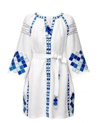 My Sleeping Gypsy Blue And White Embroidered Mini Dress