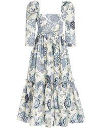 Cara Cara Blue Hill Floral-print Cotton-poplin Midi Dress