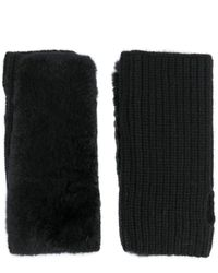 Yves Salomon Cashmere Rabbit Fur Fingerless Gloves - Black