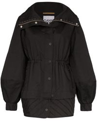 Ganni High Neck Nylon Drawstring Jacket - Black