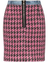 Natasha Zinko High Waisted Houndstooth Zip Front Mini Skirt - Pink