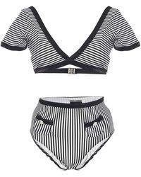 Leslie Amon Mary Lou Striped Bikini - Black