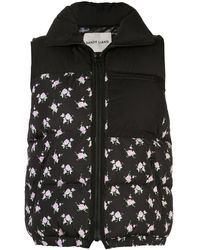 Sandy Liang Miko Floral Print Padded Gilet - Black