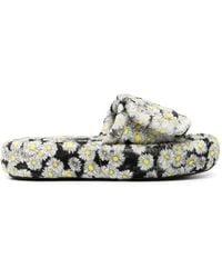 Natasha Zinko Black Daisy-print Padded Fleece Slippers - White