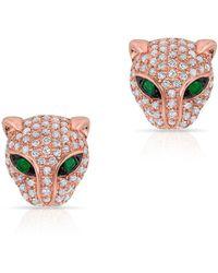 Anne Sisteron Diamond Emerald Jaguar Earrings - Pink