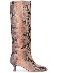 Paris Texas Snake Embossed Print Kitten Heel Boots - Multicolor