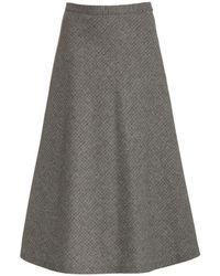 Nili Lotan Alvina A-line Midi Skirt - Grey