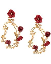Of Rare Origin Hand-carved Floral / Gold Hoop Earrings - Red