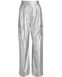 Tibi Pleated Metallic Cargo Trousers