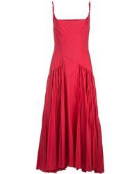 Proenza Schouler Pleated Poplin Maxi Dress - Red