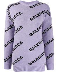 Balenciaga Logo-pattern Stretch-wool Jumper - Purple