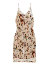 R13 Velvet Floral Slip Dress - Natural