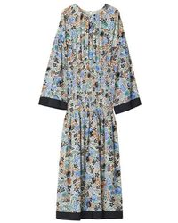 Rodebjer Reham Long Sleeve Midi Floral Dress - Blue