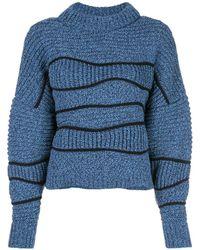 Maison Ullens Puff Boatneck Wave Knit Jumper - Blue