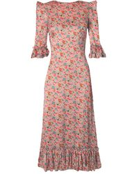 The Vampire's Wife The Falconetti 3/4 Sleeve Floral Dress - Pink