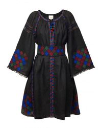 My Sleeping Gypsy Mini Embroidered Dress With Belt - Black