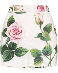 Dolce & Gabbana Floral Cotton Shorts - White