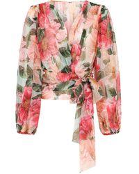 Dolce & Gabbana Silk Rose Wrap Top - Pink