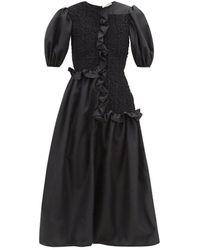 Cecilie Bahnsen Camden Puff Sleeve Smock Dress - Black