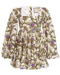 Agua by Agua Bendita Avena Floral Square Neck Mini Dress - Multicolour