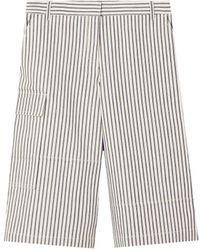 Tibi Striped Denim Bermuda Shorts - Black