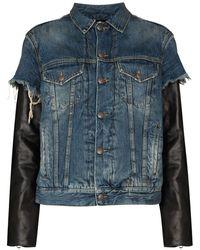 R13 Sky Denim And Leather Jacket - Blue