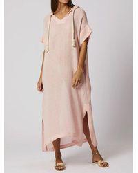 Lisa Marie Fernandez Drawstring Hooded Caftan - Pink