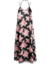 R13 Floral Midi Slip Dress - Black