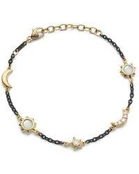 Monica Rich Kosann Black Steel Sun Moon Stars Bracelet - Metallic