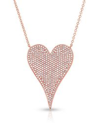 Anne Sisteron Large Pave Heart Necklace - Pink