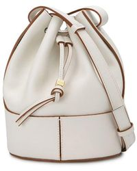 """Loewe White Leather """"balloon"""" Bucket Bag"""
