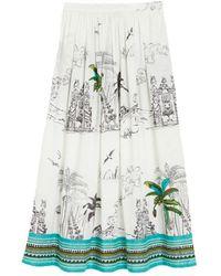 Le Sirenuse New Jane Highwaisted Midi Palm Tree Skirt - White