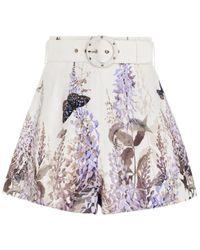 Zimmermann Luminous Belted High-waisted Floral Short - Multicolour