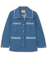 Chloé Box Cut Denim Jacket - Blue