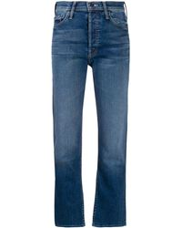 Mother Tomcat Cropped Kick Flare Jeans - Blue