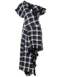 Kirna Zabete Flap Off The Shoulder Tweed Midi Dress - Blue