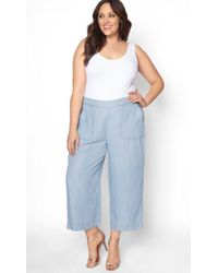 08879a455bcdd Lyst - Nili Lotan Lennon Cotton Wide-leg Pants in Blue