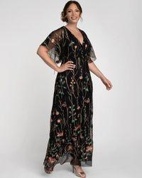 Kiyonna Embroidered Elegance Evening Gown - Black