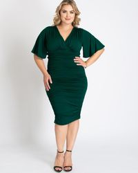 Kiyonna Rumor Ruched Dress - Green