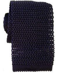 KJ Beckett Knitted Silk Tie - Blue