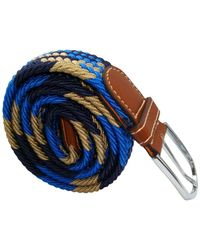 Bassin and Brown Jagged Stripe Elasticated Woven Buckle Belt - Blue