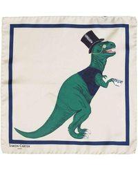 Simon Carter T-rex Toff Pocket Square - Green