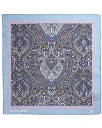 Simon Carter Framed Paisely Silk Pocket Square - Blue